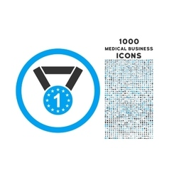 First Medal Rounded Icon with 1000 Bonus Icons vector image