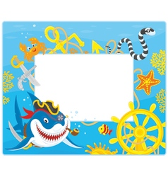 Frame with a pirate shark vector