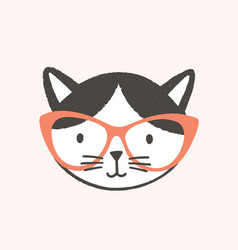 funny face or head clever cat wearing glasses vector image