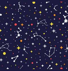 galaxy seamless pattern bright space background vector image