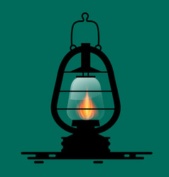 Gas lamp symbol with fire flame vector