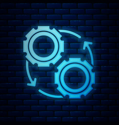 Glowing neon gear and arrows as workflow process vector