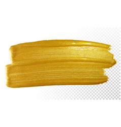 Gold paint brush smear stroke acrylic golden vector