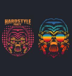 Gorilla mask retro hard party vector