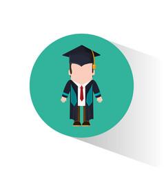 Graduate student tie cap standing vector