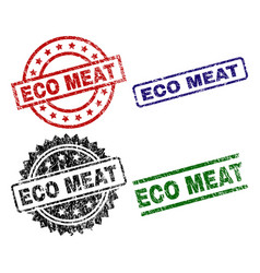 grunge textured eco meat seal stamps vector image