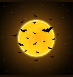 halloween flying bat moon background vector image