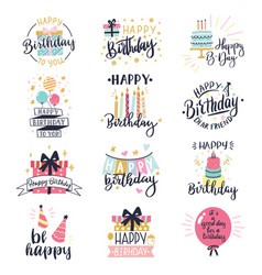 happy birthday logo badge greeting lettering vector image