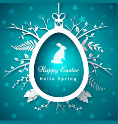 happy easter - paper origami style vector image