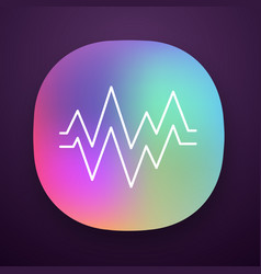 heart beat app icon sound and audio wave vector image