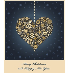Heart from golden snowflakes vector image