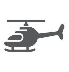 Helicopter glyph icon transportation and chopper vector
