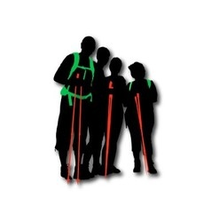 Hikers posing with backpacks and sticks vector