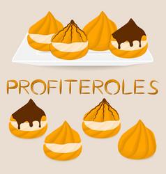 Homemade dessert puff cake profiterole vector