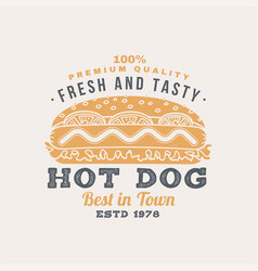 hot and fresh hot dog retro badge design vector image