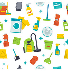 house cleaning tools seamless pattern background vector image