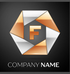 Letter f logo symbol in the colorful hexagon on vector