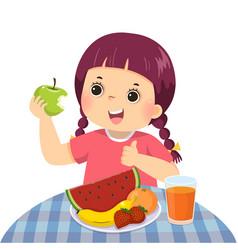 Little girl eating green apple vector