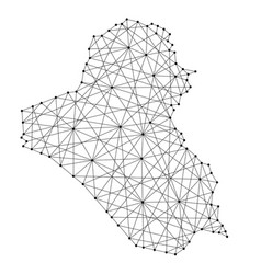 map of iraq from polygonal black lines and dots vector image