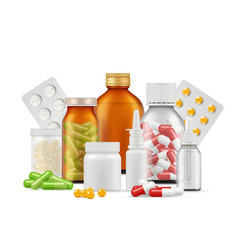 medical bottles and pills medications aspirin vector image