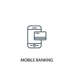 mobile banking concept line icon simple element vector image
