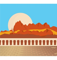 Mountain scene from balcony vector