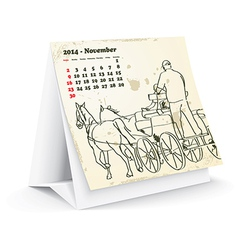 November 2014 desk horse calendar - vector image