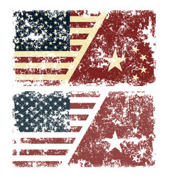 old scratched flags usa vector image