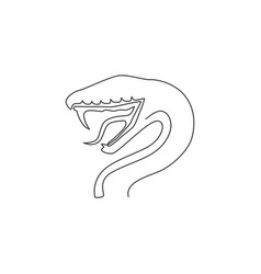 one single line drawing venomous snake vector image