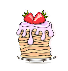 pancakes baking with syrup and vector image