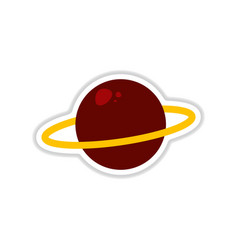 Paper sticker on white background planet vector
