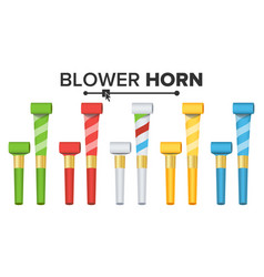 party horn set color penny whistle top vector image