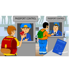 passport and customs control vector image