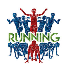 people run runner marathon running vector image
