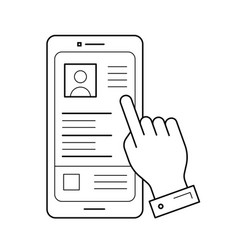 phone layout line icon vector image
