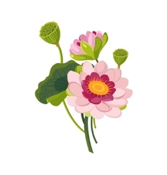 Pink Garden Flower Hand Drawn Realistic vector