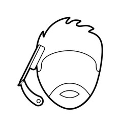 razor blade with male hair style vector image