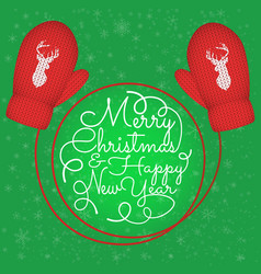red knitted mittens with head reindeer vector image