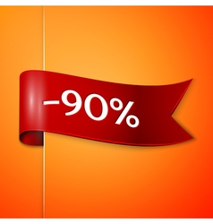 Red ribbon with inscription 90 percent discounts vector