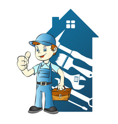 repairman in the background of the house vector image