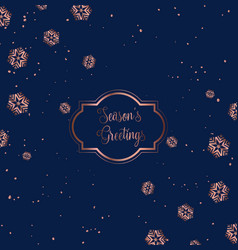 rose gold and blue christmas card design vector image