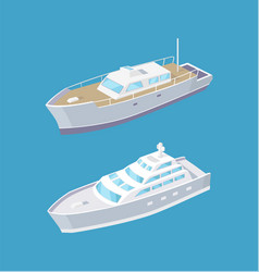 Sailboat and passenger liner marine travel vessels vector