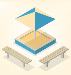 Sandbox with benches in isometric vector