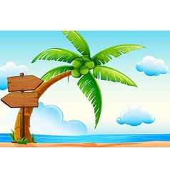 Scene with ocean and coconut tree vector