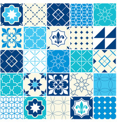 Seamless blue tile pattern azulejos tiles vector
