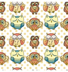 Seamless Pattern with Furry Doodle Owls vector image