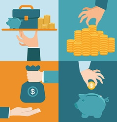 Set banking concepts in flat style vector