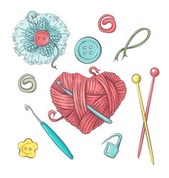 set for handmade ball of yarn and accessories for vector image