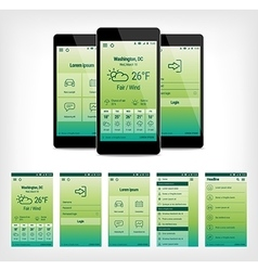 set green mobile user interface design vector image