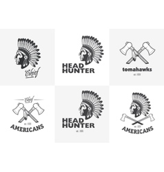 Set of american indian emblems labels badges vector
